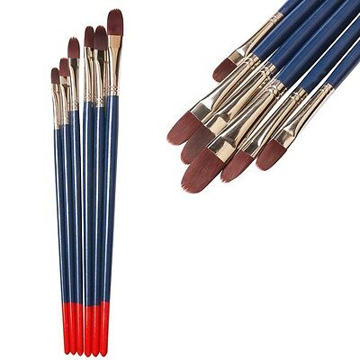 6 Pcs Nylon Round Artist Paint Brushes Oil Watercolor Painting Brush Kit AU MX