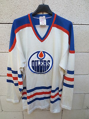 VINTAGE Maillot hockey OILERS EDMONTON made in Canada shirt NHL M jersey 80's