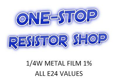 1/4W Metal Film Resistors E24 All Values From 1K To 91K Packs Of 100