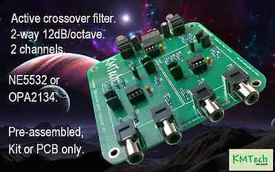 2 Channel 2 way 12dB/octave active crossover filter KMTech NE5532 Pre-assembled