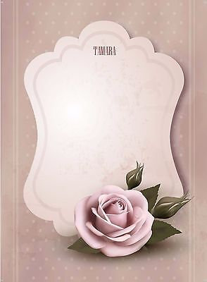 Personalised Rose writing paper stationery set with matching envelopes