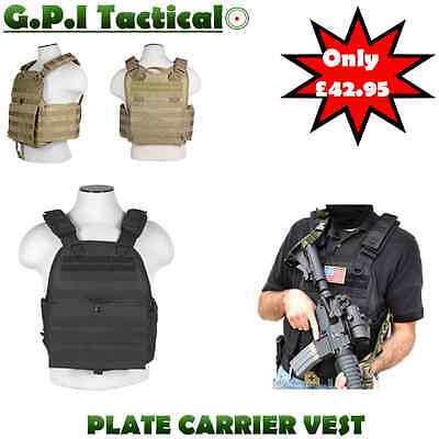 G.p.i Tactical Adjustable Plate Carrier Assault Armour Pal Vest Airsoft Army Blk