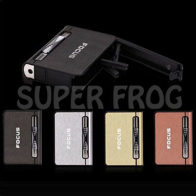 Cigarette Case Lighter Automatic Ejection Butane Windproof Metal Box Holder Tin