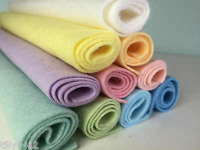 PASTEL Shades Wool Blend Felt Craft Pack **10 Pieces Per Pack** choice of sizes
