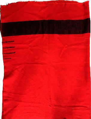 HUDSON'S BAY (?Unmarked) 3.5 Point Bright Red Black Wool Blanket