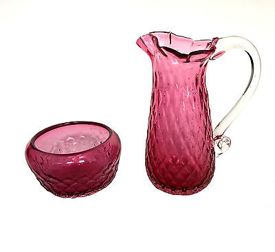 RUBY GLASS Hand Blown Diamond Pattern Creamer & Sugar Bowl Set Pontil Mark