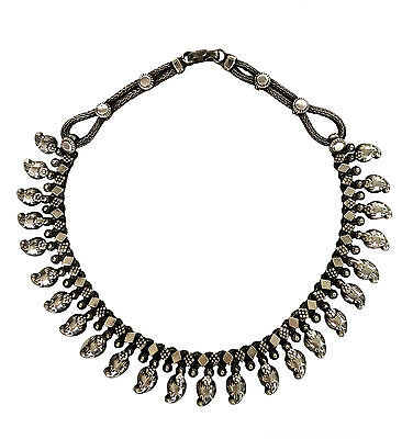 EAST INDIAN High Grade Pure Cast Silver Mango Wedding Necklace Hand Made