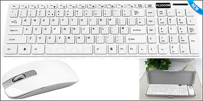 Slim 2.4GHz Wireless White Keyboard and Cordless Mouse Kit For Desktop Laptop PC