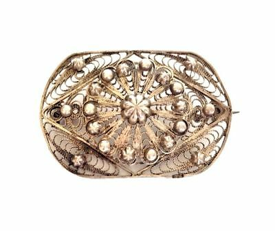 EGYPTIAN STERLING Silver Filigree Brooch Pin Made in Egypt Hallmarked Art Deco