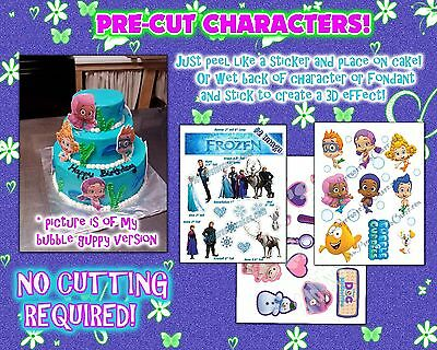 EDIBLE Cake Stickers! Toppers decals characters Frozen bubble guppies fondant