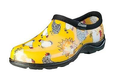 Sloggers Womens Chicken Print Daffodil Yellow Garden Step-In Shoes Size 10