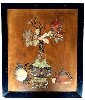 CHINESE Inset Soapstone On Wood Panel Flower Vase Fruit Peach Tea Teapot