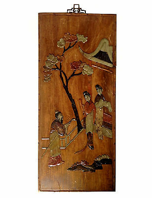 CHINESE Inset Soapstone On Wood Panel Scholar & Ladies In Garden