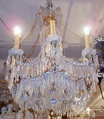 "Magnificent Antique Italian Gilt Carved Wood w Tiered Prisms 40"" Chandelier"