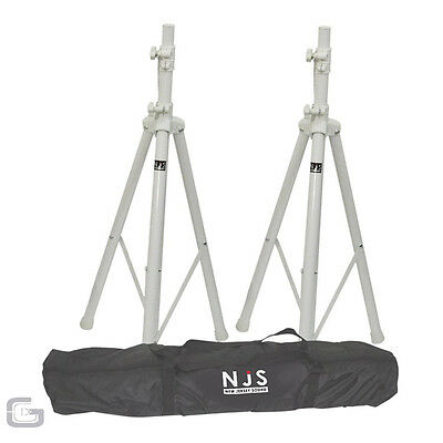 New Jersey Sound Corp Dual High Quality White Speaker Stand Pair Kit With Bag