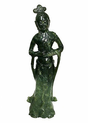 CHINESE KWAN-YIN Spinach Green Jade Stone Goddess Carving Figure Quan