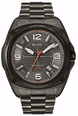 Bulova Men's 98B225 Precisionist Black Dial Stainless Steel Grey 48mm Watch