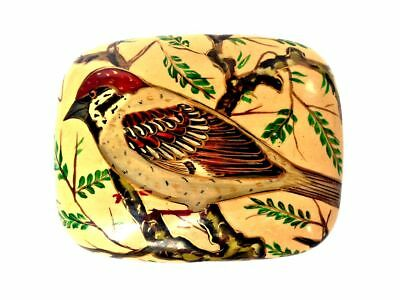 KASHMIR INDIAN Bird Black Lacquer Hand Painted Trinket Box Made in India