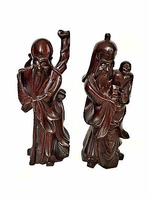 CHINESE Carved Wood Old Man Shou God Fertility Figure Statues Statue Carving