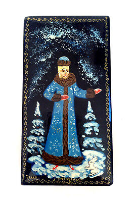 RUSSIAN PALEKH Lacquer Hand Painted Paper Mache Snow Scene Box