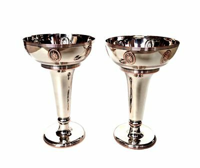 RARE JAMES DIXON & SONS Silver Plate Art Posy Vase Marked Copper Cups Goblets