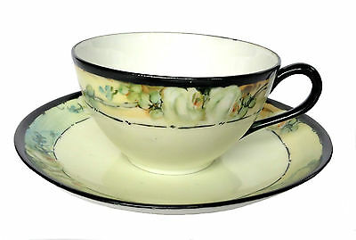 NIPPON Hand Painted Tea Cup & Saucer White Rose Pattern Japan Japanese