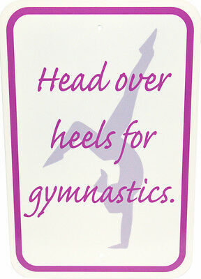 "NEW!  ""Head over Heels for Gymnastics"" Metal Sign offered by Snowflake Designs"