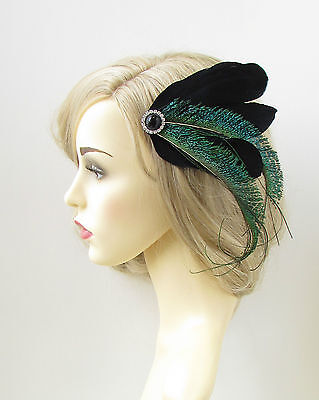 Black Green Peacock Sword Feather Fascinator Hair Clip Vintage 1920s Races 125