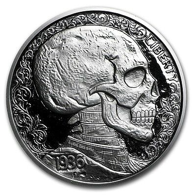 """Hobo Nickel Series """"Skulls & Scrolls"""" 1 oz .999 Silver Proof Round USA Made Coin"""
