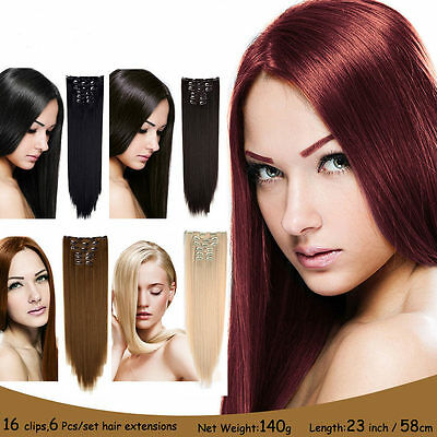 16clips hair piece 6piece/set clip in hair extensions heat resistant straight