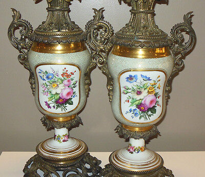 Pr STUNNING Antique French Hand Painted Lamps Ormolu Grape Mounts Sevres Style