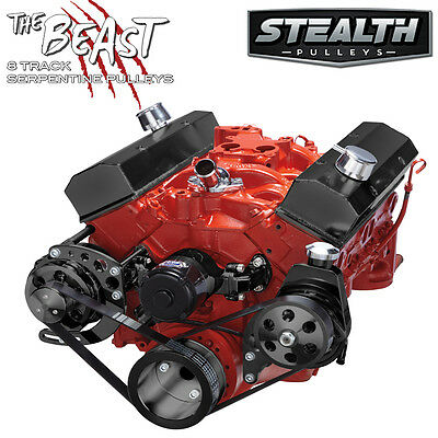 Black Chevy Small Block Serpentine Conversion - Power Steering, Electric WP