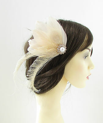 Cream Ivory White Peacock Feather Fascinator Hair Clip Bridal Vintage 1920s 128