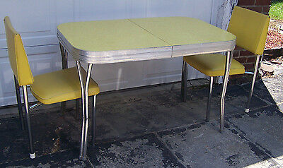VINTAGE FORMICA TABLE in Yellow w/ 2 VINTAGE CHAIRS in Yellow - 1950's - VGUC!