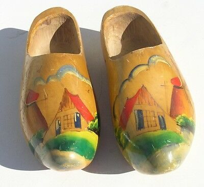 Pair Antique Holland Made Hand Carved Painted Wooden Dutch Shoes Clogs Klompen