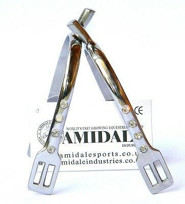 Horse Riding Blunt Spurs Equestrian Stainless Steel Crystal Silver Colour