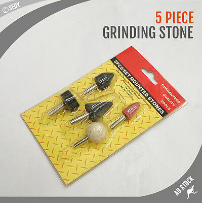 5 PCS Mounted Grinding Stone Set Polishing Drill Bits Grinder Carving Burnishing