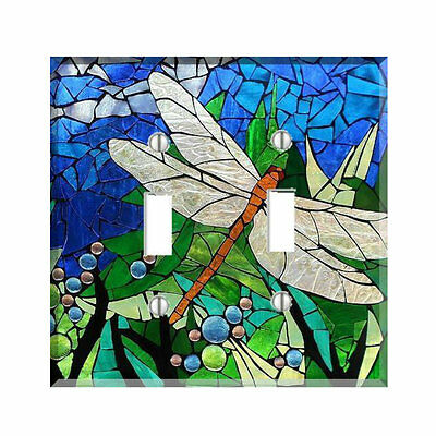 Dragonfly Blue Green Mosaic Style Light Switch Cover Plate Wall Cover Decor