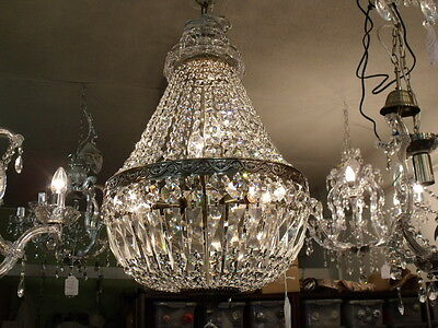A/B Vintage 3 Light Dome Basket K-9 Crystal Chandelier Chandeliers French Empire