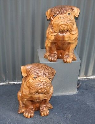 Hand Carved Mahogany Wooden Dogs Bulldogs