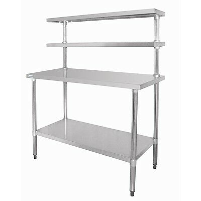Stainless Steel Work Bench Table with 2 Tier Shelving Heavy Duty Restaurant Cafe