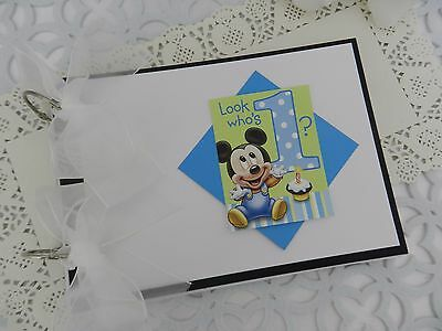Baby Keepsake 1st One 1 First Birthday Mickey Mouse blank page party guest book