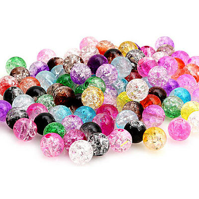 100 Mixed Crystal Crack Art Glass Round Loose Spacer Bead Charm Finding 8mm