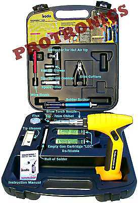 SOLDERING IRON, BLOW TORCH, FLAMELESS HEAT GUN KIT, 7mm Tip SolderPro 180K Iroda