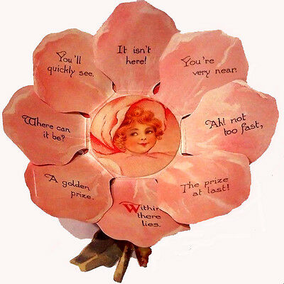 VICTORIAN VALENTINE PETAL CARD Cupid's Rose MINT/SEALED Rare! Vintage Shackman