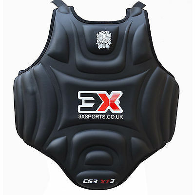 3XSports Chest Guard Karate  Body Protector MMA Armour Muay Thai Kick Boxing blk