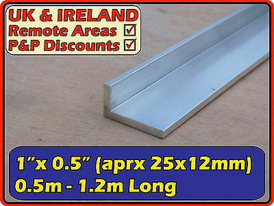 "Aluminium Angle (L section edging bracket)| 1""x0.5"" ( 25mm  12mm  3mm)