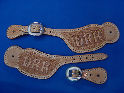 Custom Spur Straps Hand Tooled Leather spur strap