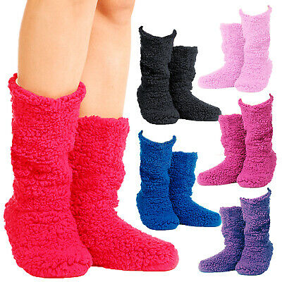Ladies Womens Girls Winter Warm Cosy Soft Fleece Slipper Ankle Boots Booties