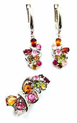 Aaa Natural Multi Color Tourmaline Sterling Silver 925 Butterfly Set